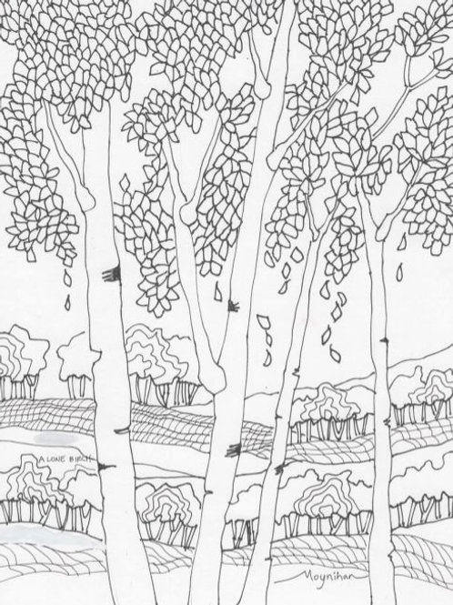 Birch Trees Coloring Page