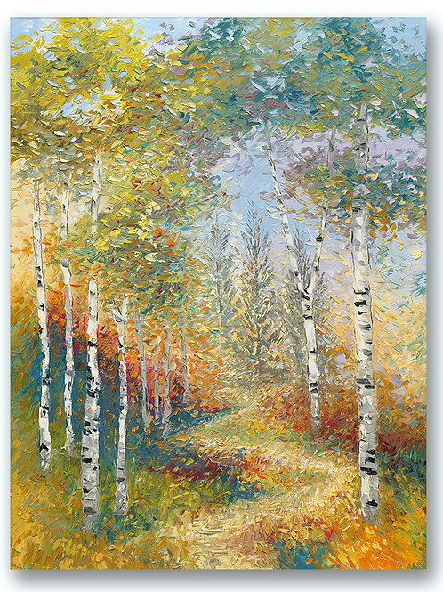 Warm colors highlight the path the leads through the birch trees. Vertical landscape Giclee print by Kate Moynihan