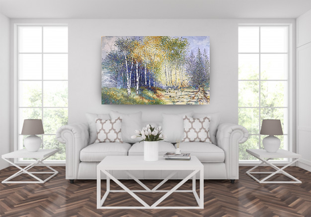 Original oil birch tree and water landscape by Kate Moynihan