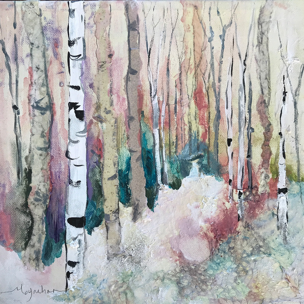 Winter birch tree mixed media in coral and blue that adds warmth by Kate Moynihan