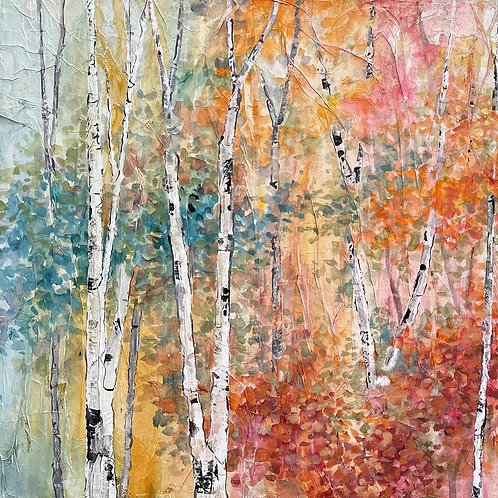 """Through the Trees - 24 """"x 48'watercolor"""