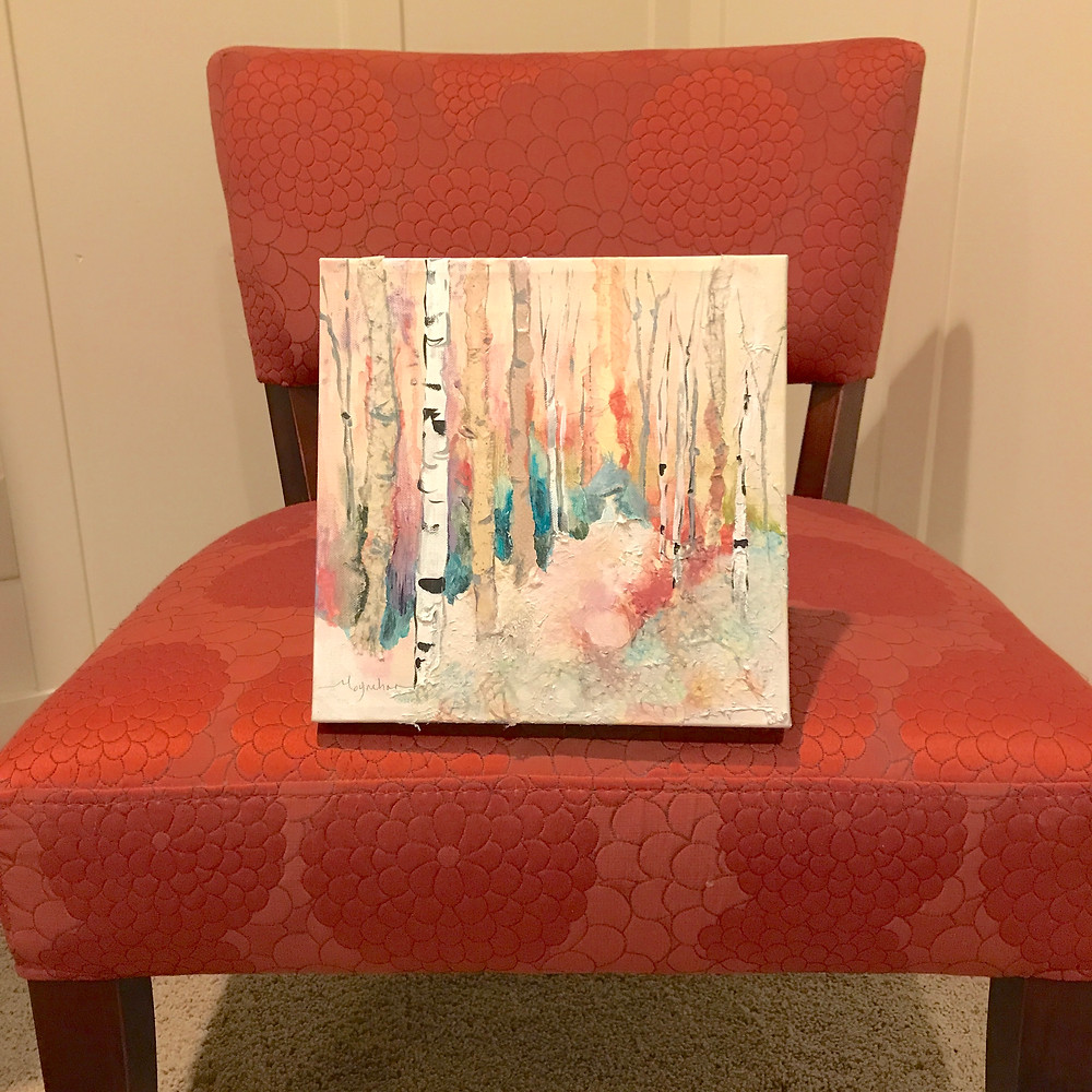 """Original birch acrylic 10 x 10"""" by Kate Moynihan. Pantone Living Coral, Color of the Year 2019"""