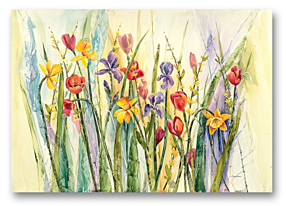 """Tulips, Iris, Daffodils in watercolor Giclee print, """"Spring Medley"""" $150, by Kate Moynihan artist"""