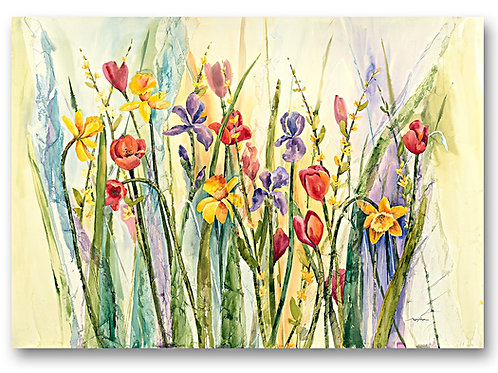 Spring tulips, iris and daffodils in bright colors come alive in this watercolor Giclee print by Kate Moynihan