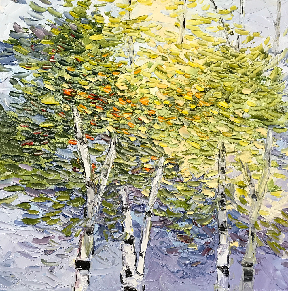 Small birch tree landscape palette knife oil painting by Kate Moynihan