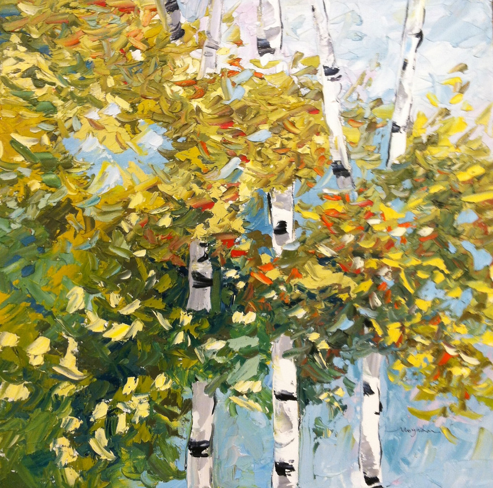 Contemporary take on small birch tree original oil in green by Kate Moynihan artist