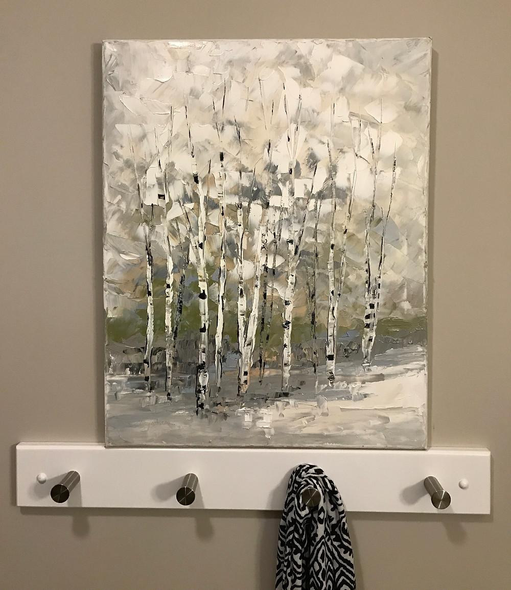 Winter monochromatic birch tree vertical landscape by artist Kate Moynihan