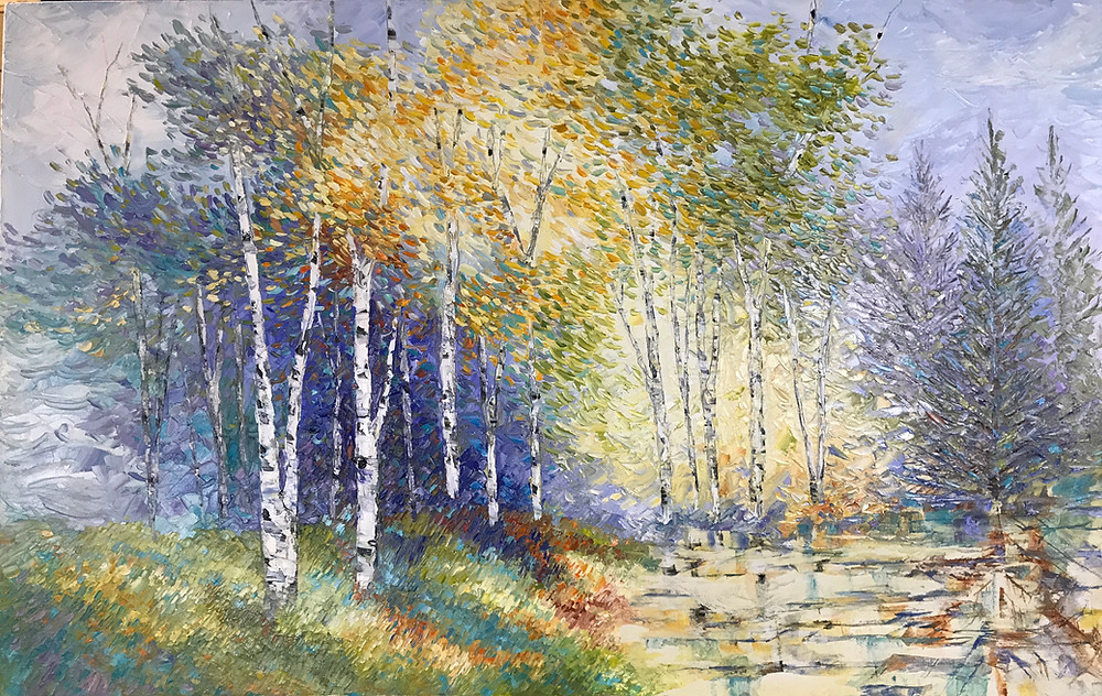 How to add texture to your home decor. Original birch landscape oil painting Kate Moynihan artist