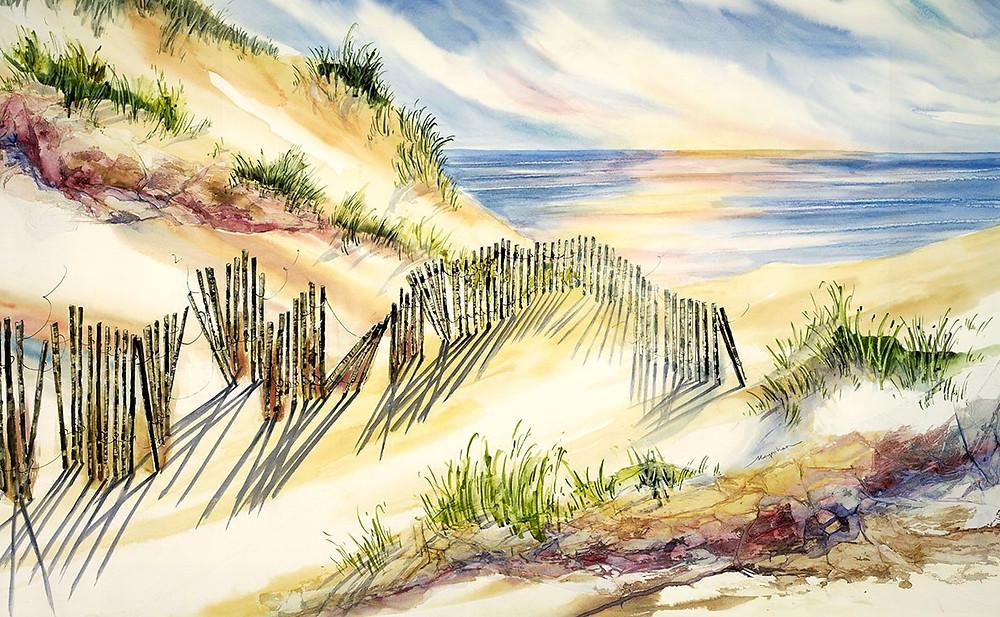 Beach scene Giclee print of sand dunes shoreline along water by Kate Moynihan artist