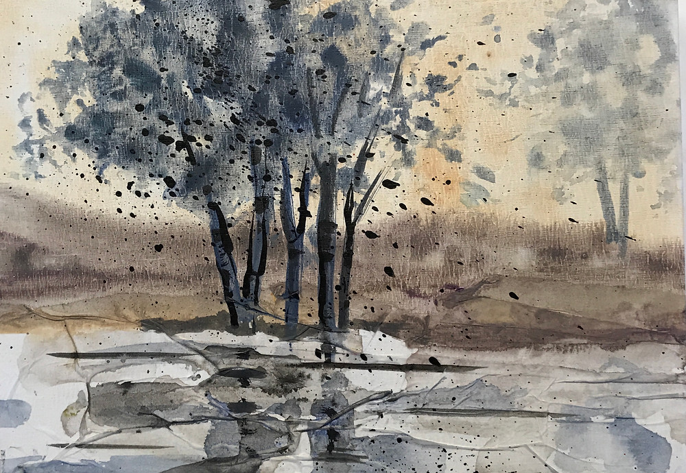 Small original birch landscape in neutral palette of gray and taupe by Kate Moynihan