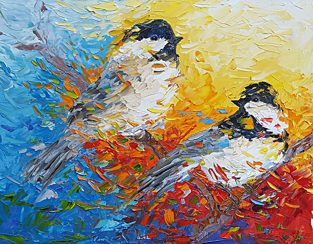Original oil painting of two chickadees in bold colorful background by Kate Moynihan Artist