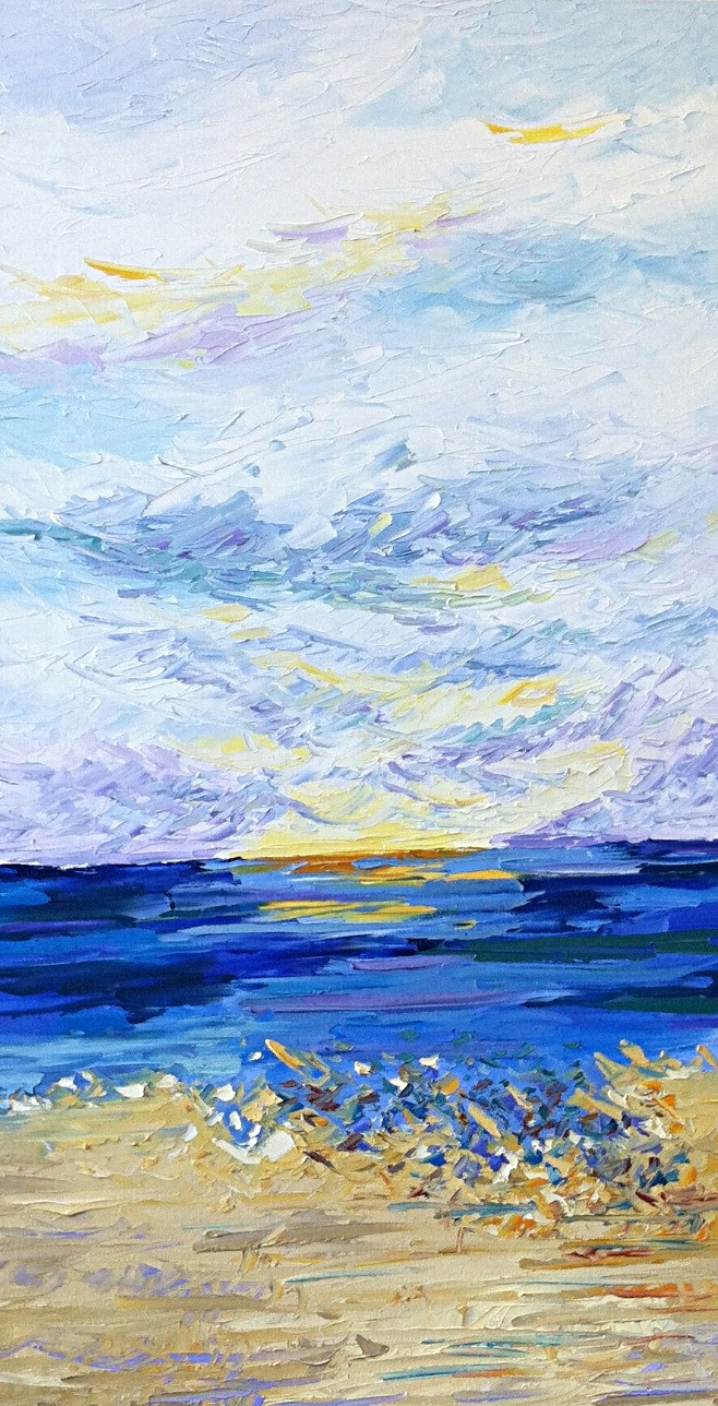 Original palette knife contemporary beach shoreline and blue water oil painting