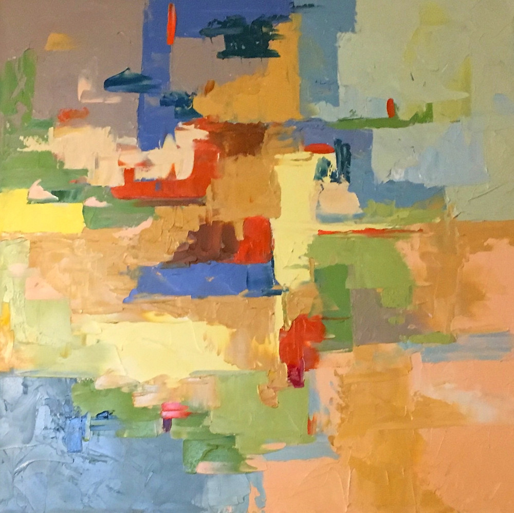 Original abstract oil by Kate Moynihan.  Pantone Living Coral balanced with neutral color palette.