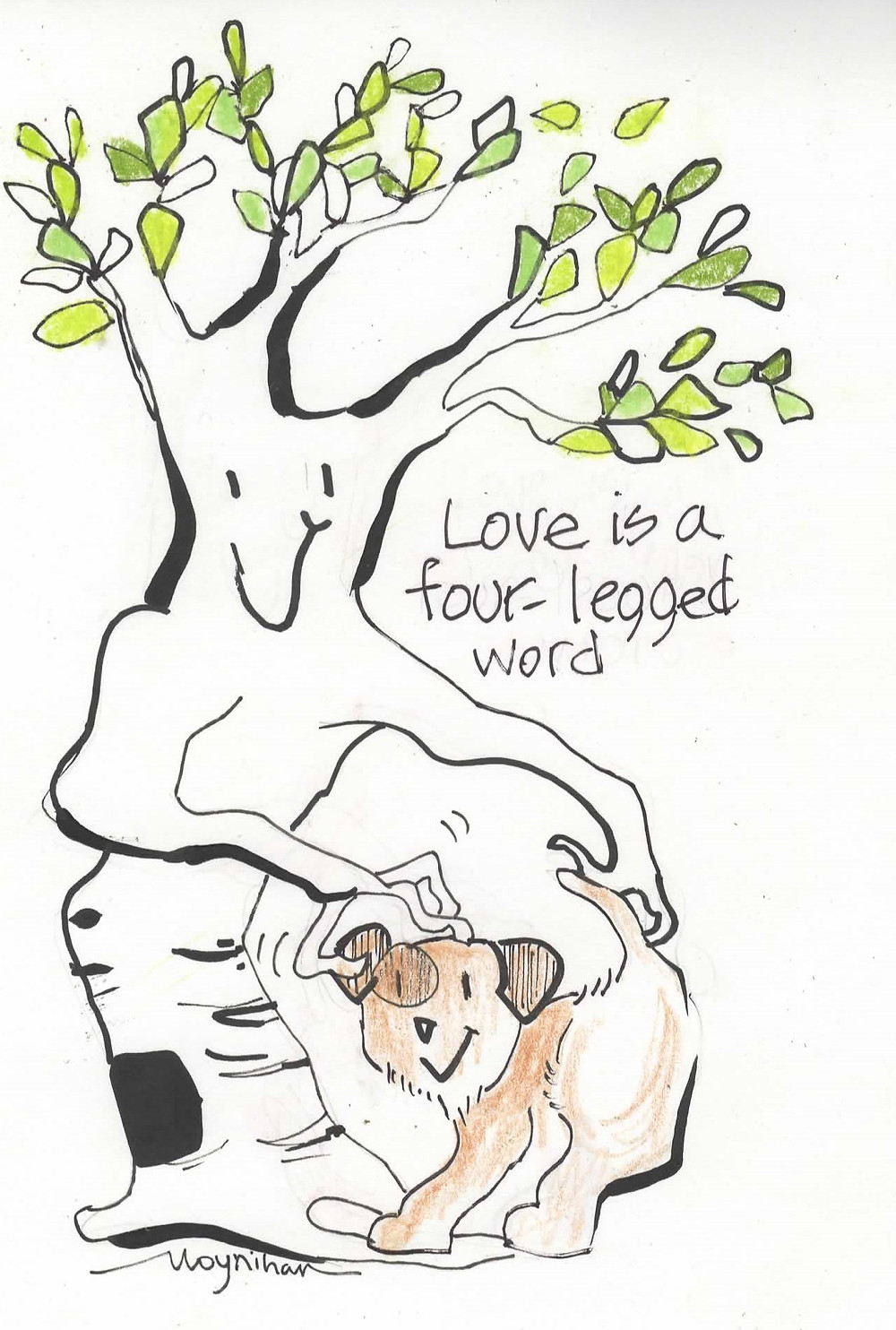 Humorous cartoon greeting card of dog and birch tree makes you laugh by Kate Moynihan artist