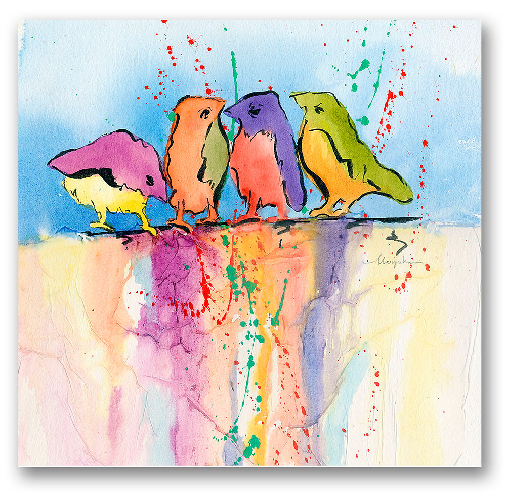 Whimsical contemporary colorful 4 birds in a row on this watercolor Giclee print by Kate Moynihan