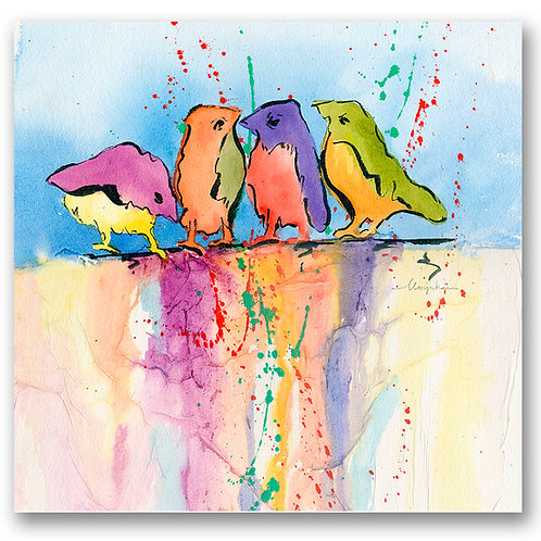 colorful contemporary abstract of four birds Giclee print by Kate Moynihan artist