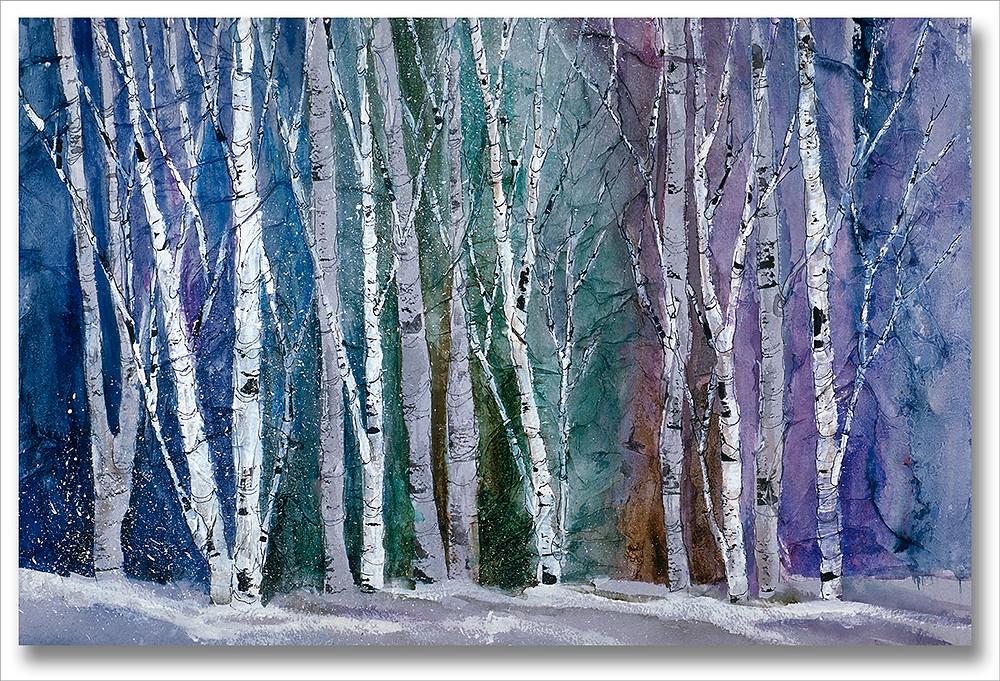 Giclee print of winter gray birch tree landscape by Kate Moynihan