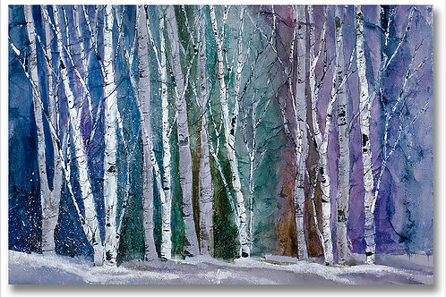 Winter birch in neutral gray landscape Giclee limited edition by Kate Moynihan
