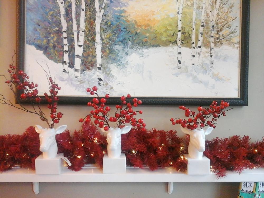 Original birch tree winter oil painting by Kate Moynihan above Christmas mantel