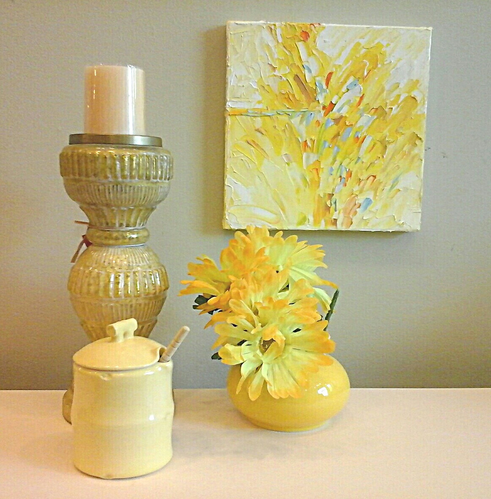 Small abstract yellow original oil canvas with palette knife technique by Kate Moynihan artist