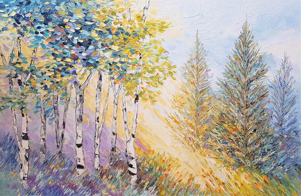 original oil birch tree landscape with the sun shinning through the pine trees by Kate Moynihan artist.