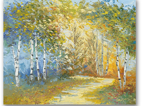 A golden path leads into the woods of birch and pine tree landscape.  Giclee print by Kate Moynihan