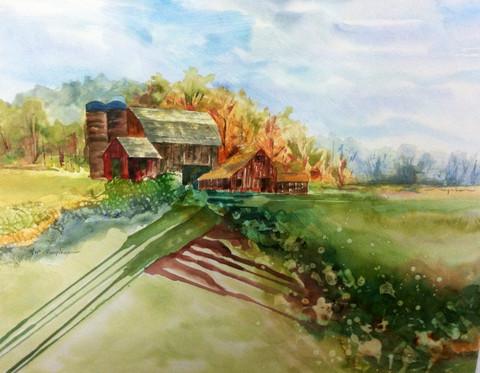 Contemporary original rural barn watercolor landscape by Kate Moynihan artist