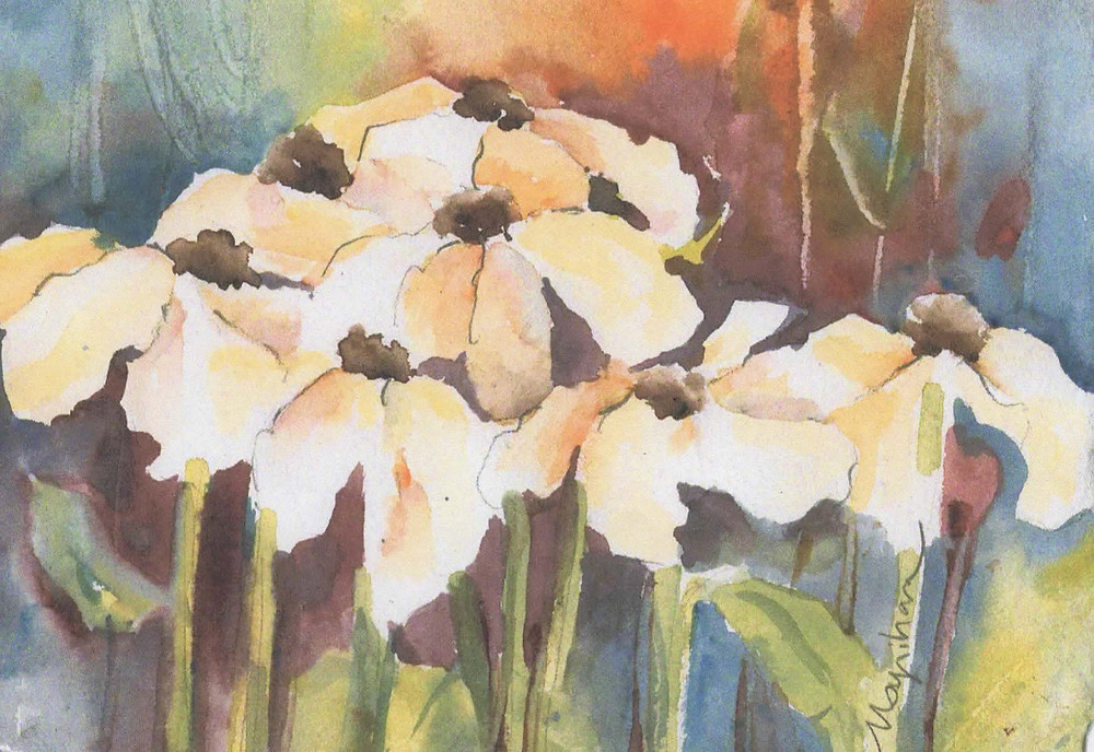 Original watercolor of white daisies note card by Kate Moynihan artist