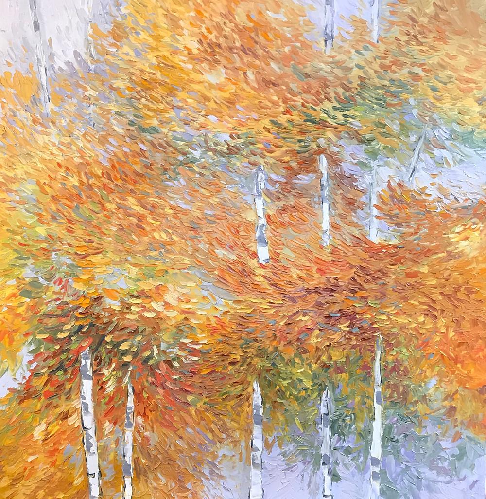 Custom original oil birch tree landscape in orange and blue by Kate Moynihan Artist