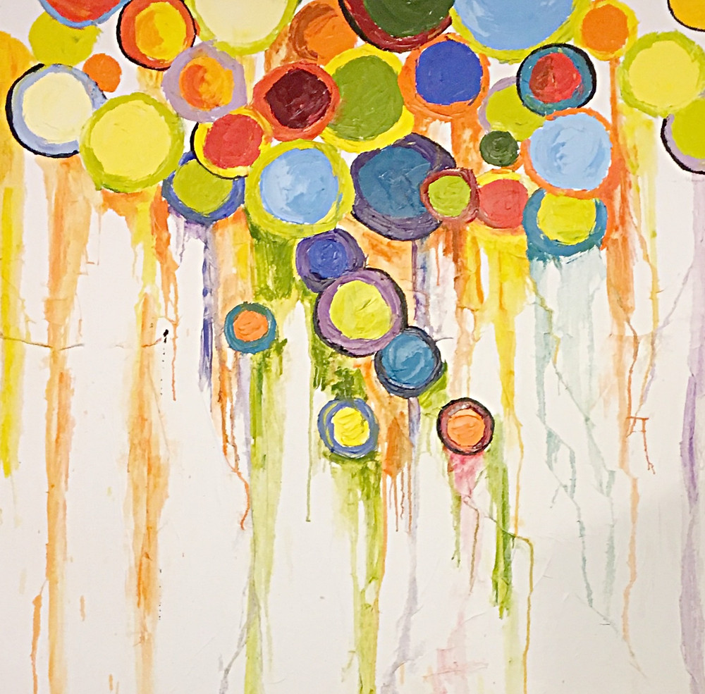 Abstract colorful contemporary original oil of circles by Kate Moynihan artist