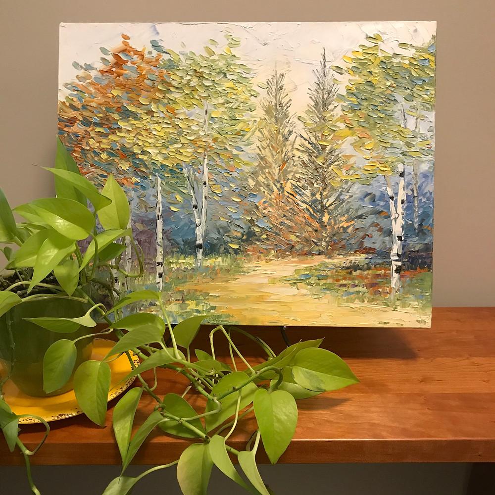 Original birch oil painting by Kate Moynihan Artist