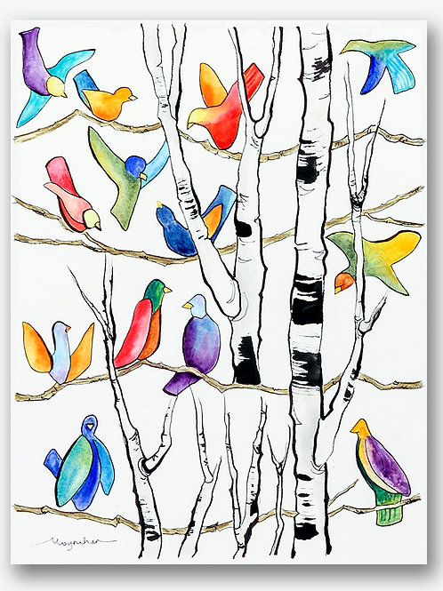 Flock of colorful contemporary birds in birch tree Giclee print by Kate Moynihan artist