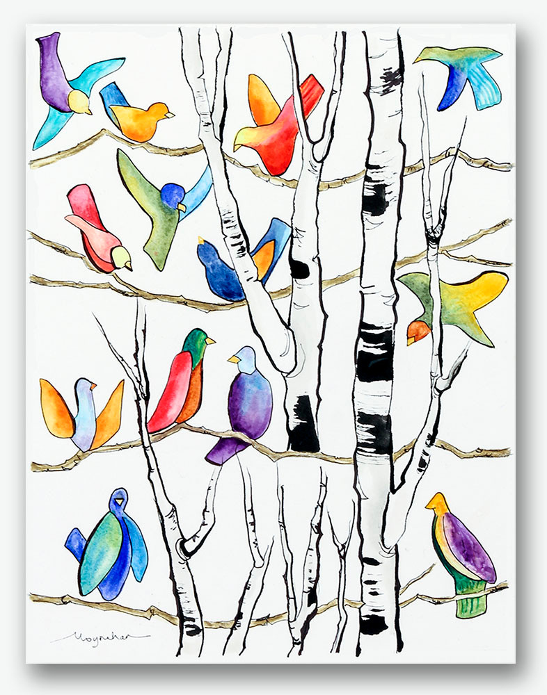 Contemporary colorful birds in birch trees. Giclee print by Kate Moynihan