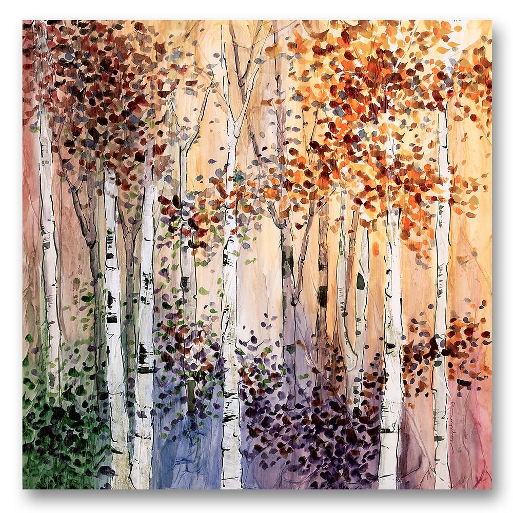 Autumn birch tree giclee print by Kate Moynihan. Part of 4 -season series.