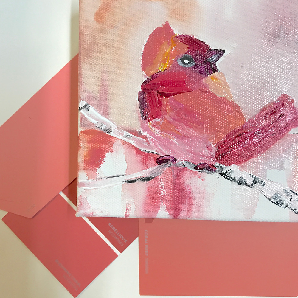 """Original acrylic 6 x 6"""" by Kate Moynihan matches Pantone Color of the year 2019 Living Coral"""