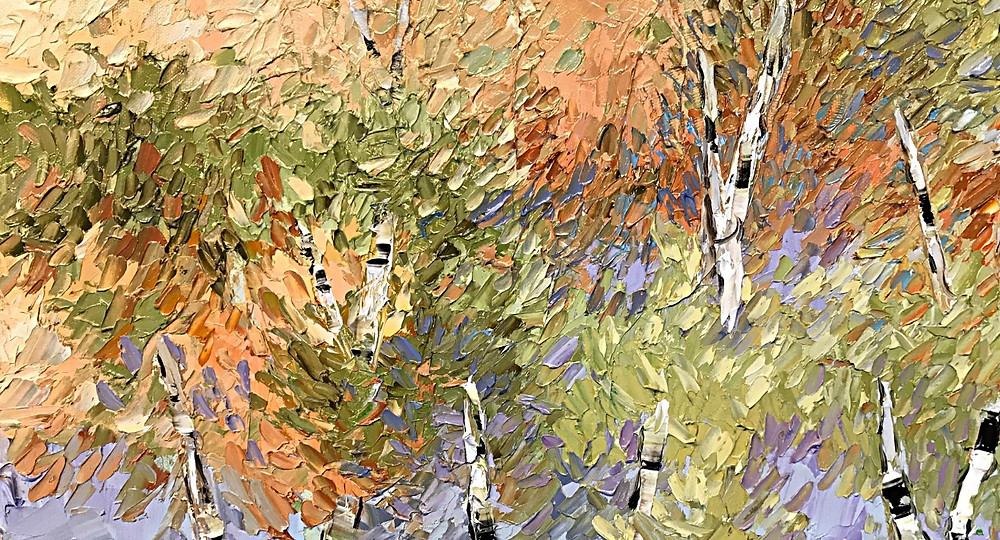 Birch tree contemporary autumn fall colors of rust, orange oil palette knife painting by Kate Moynihan