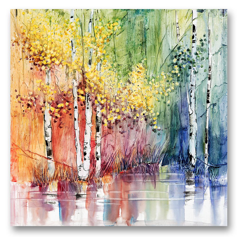 Colorful watercolor birch trees in summer with reflecting water giclee print by Kate Moynihan