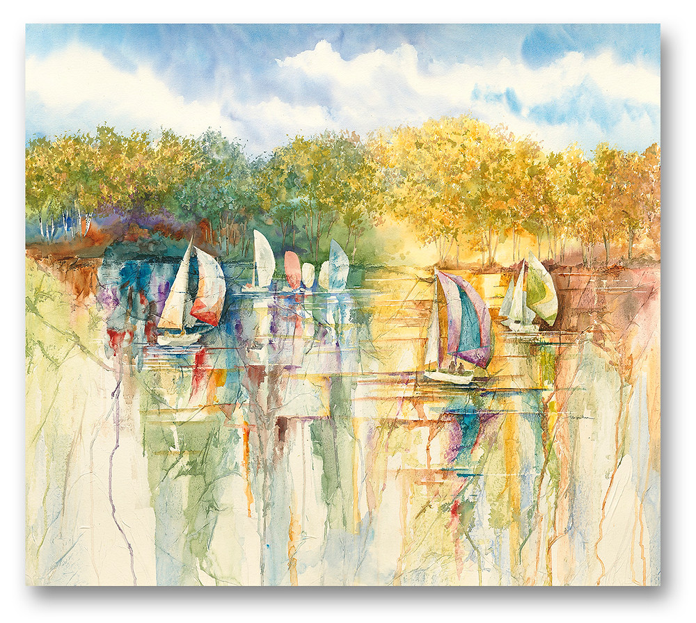 """""""Summer Sail"""" Sailboats and water along birch tree landscape watercolor Giclee print by Kate Moynihan artist"""
