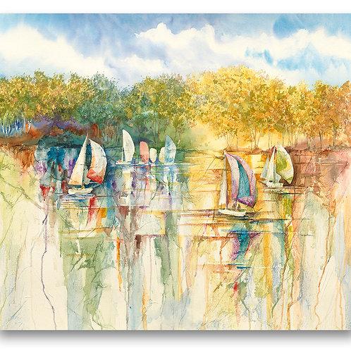 Sailboats on water along shoreline watercolor Giclee print by Kate Moynihan