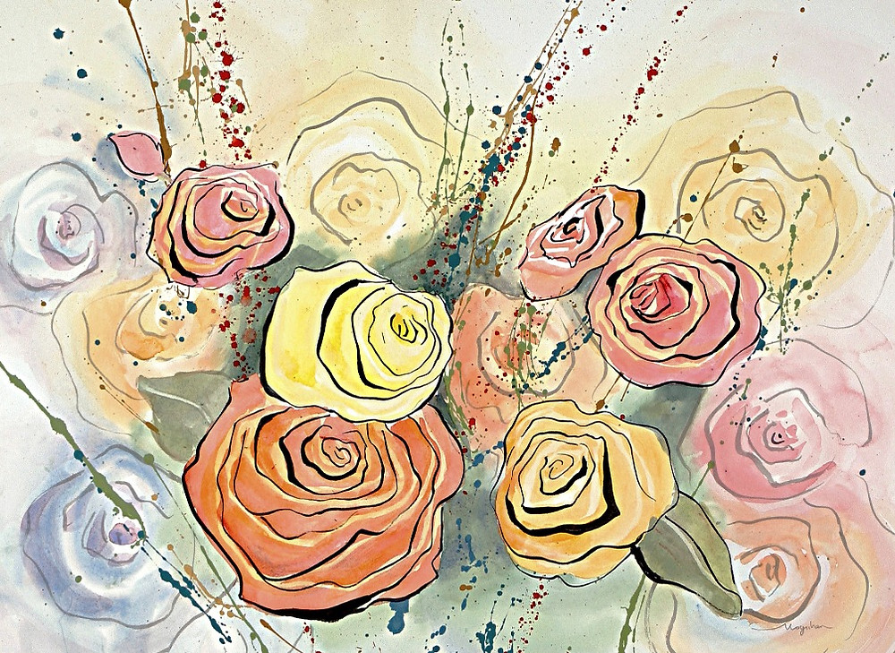"""Achieve cozy and a comforting home decor with curves and wavy lines shown in original watercolor by Kate Moynihan artist, """"Grandma's Roses"""""""