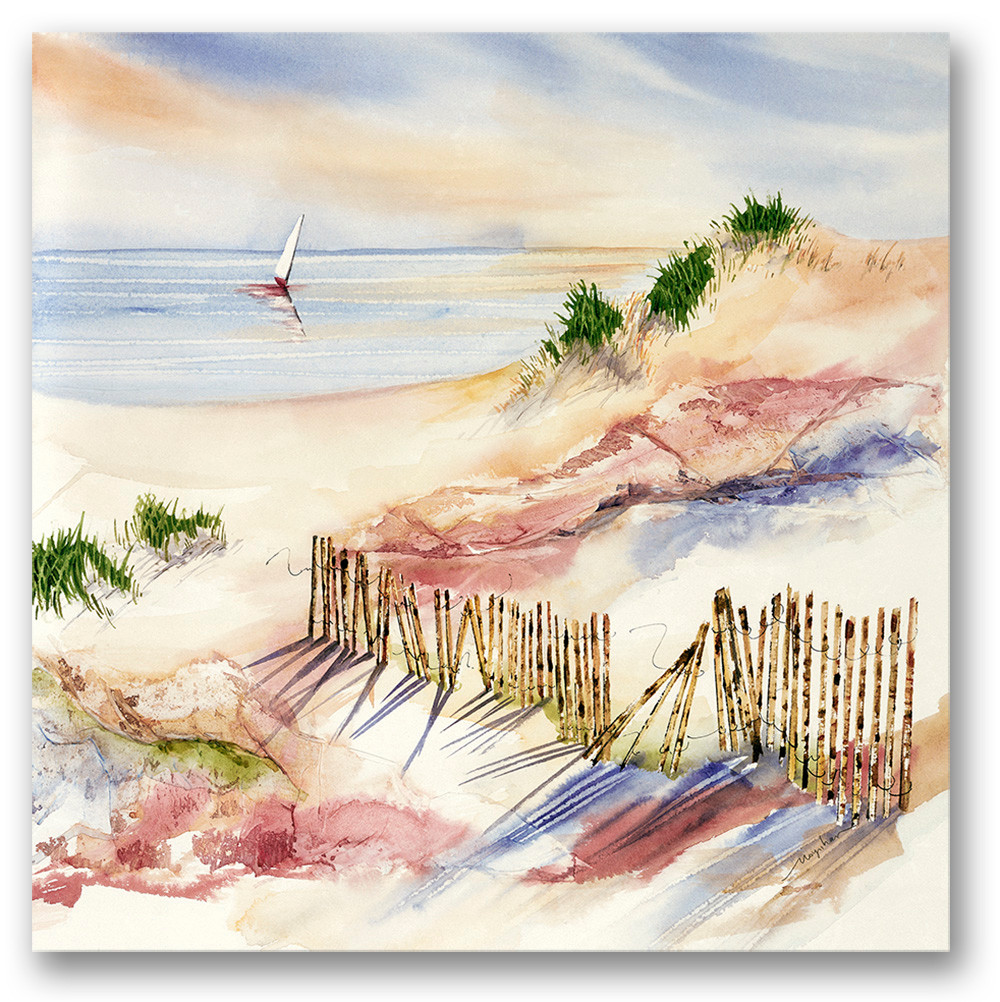 "Beach dune watercolor, Shoreward 14x14"" $75 Giclee print by Kate Moynihan artist"