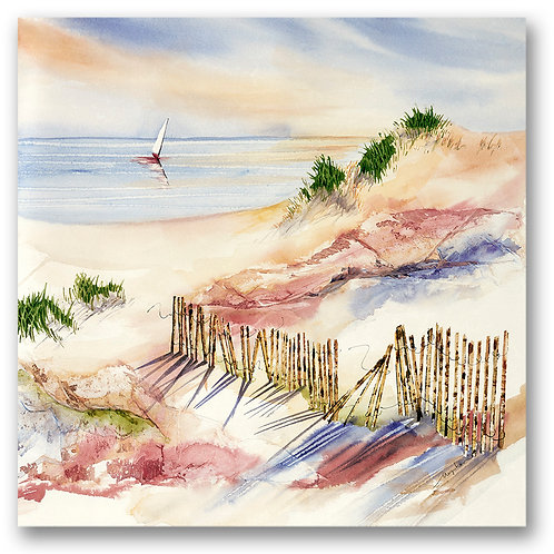 Small dune beach scene with sailboat and snow fence. Giclee print by Kate Moynihan artist