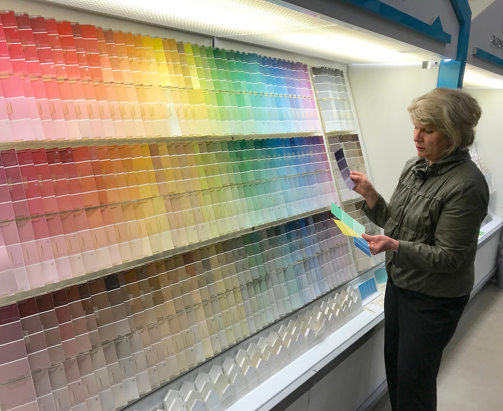 Sherman Williams wall paint sample wall at Lowe's with Kate Moynihan artist