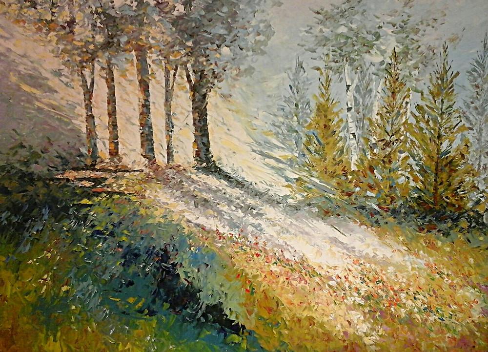 """Evening Shadows"" original oil birch landscape by Kate Moynihan"