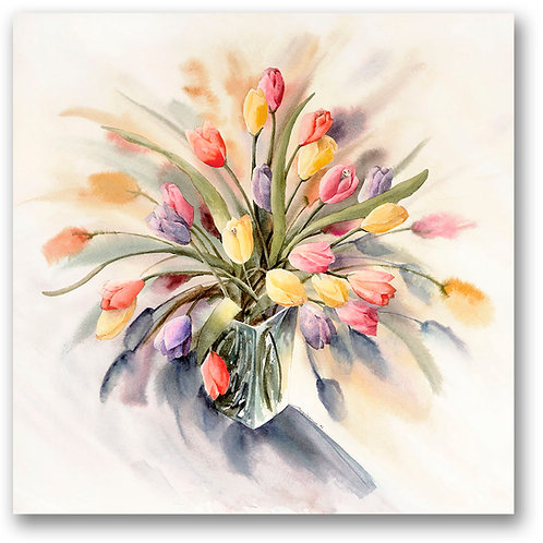 Vase of tulips in soft blue, green, yellow, pink watercolor Giclee print by Kate Moynihan