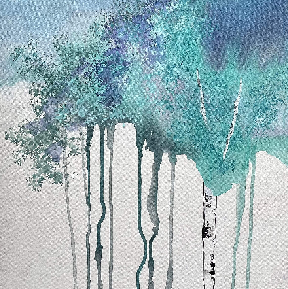 Watercolor canvas blue birch trees contemporary by Kate Moynihan artist