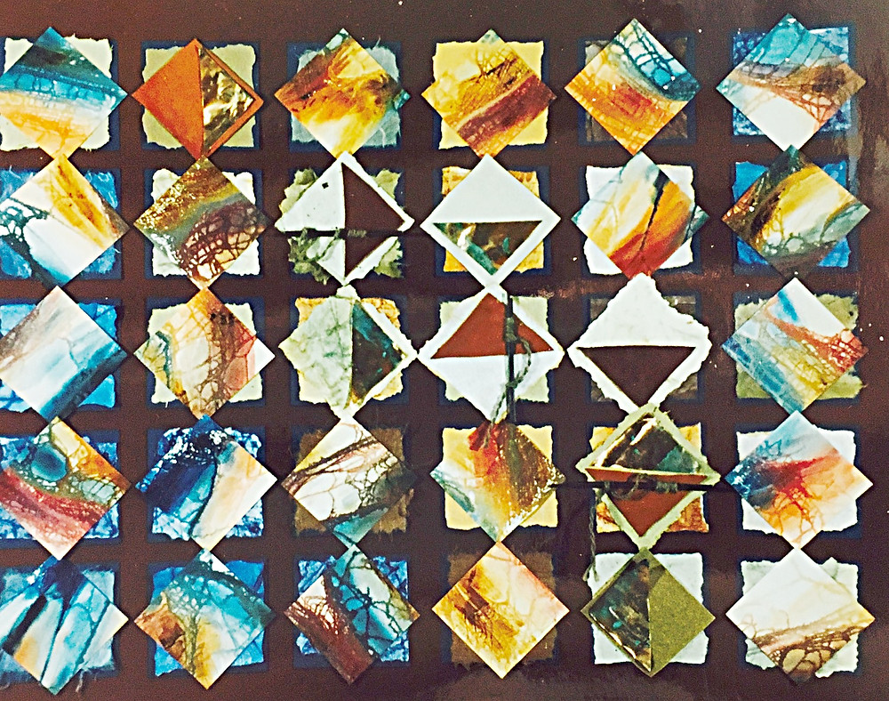 """Original paper collage abstracts """"Pyramid"""" by Kate Moynihan artist"""