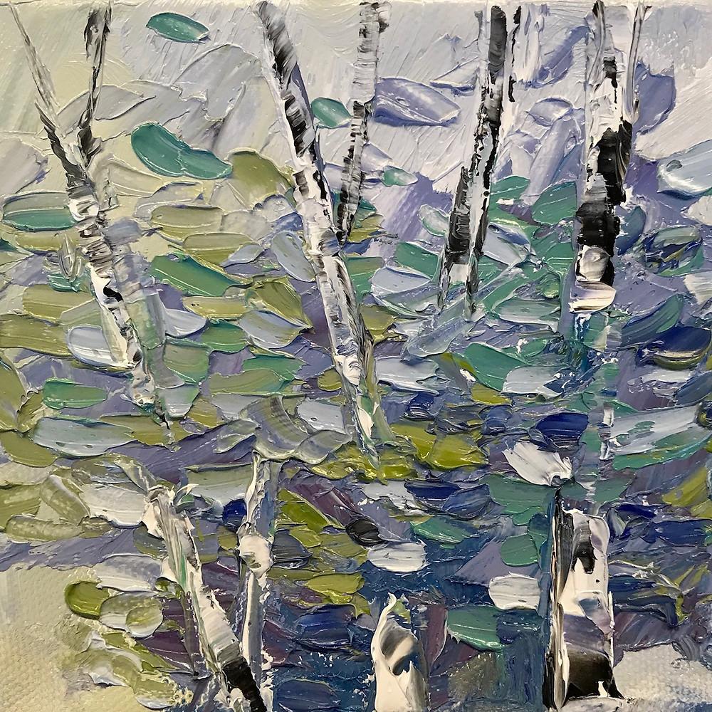 Original  oil birch tree landscape palette knife details in blue and green by Kate Moynihan
