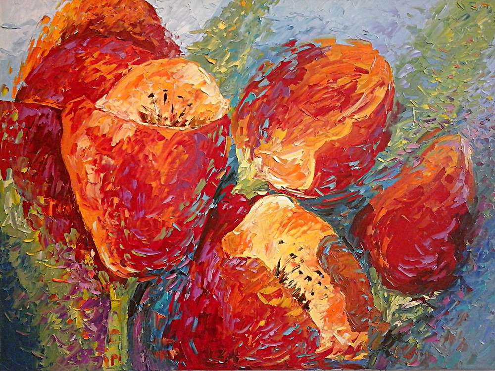 Large red tulips in contemporary original oil by Kate Moynihan artist