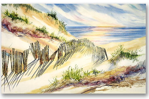Beach shoreline sand dune horizontal watercolor Giclee print with snow fence and blue water by Kate Moynihan
